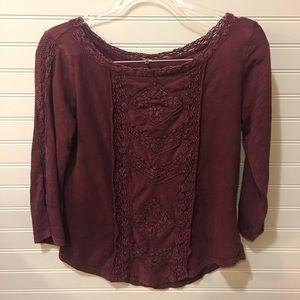 Free People | boatneck lace crochet 3/4 sleeve top
